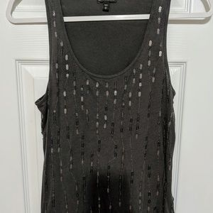 Express Dark Grey Embellished Tank Top